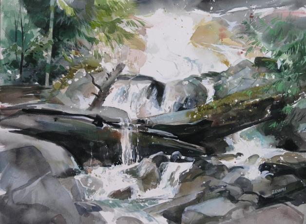 Base of Shannon Falls - watercolour